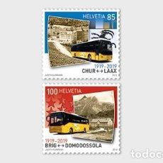 Sellos: SWITZERLAND 2019 - 100 YEARS POSTBUS ROUTES STAMP SET MNH. Lote 171071323