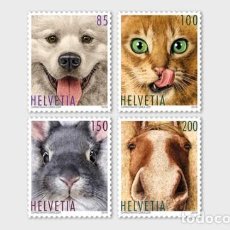 Sellos: SWITZERLAND 2019 - ANIMAL FRIENDS STAMP SET MNH. Lote 163528398