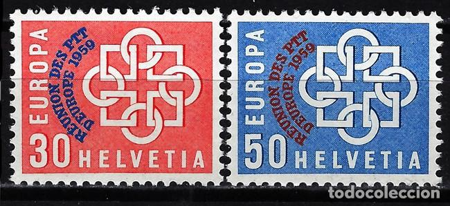 1959 SUIZA MICHEL MI 681/682 YVERT YT 632/633 MNH** NUEVOS SIN CHARNELA - CONFERENCIA EUROPA PTT (Sellos - Extranjero - Europa - Suiza)