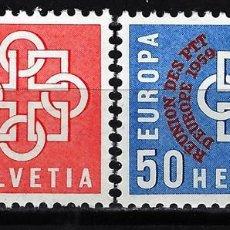 Sellos: 1959 SUIZA MICHEL MI 681/682 YVERT YT 632/633 MNH** NUEVOS SIN CHARNELA - CONFERENCIA EUROPA PTT . Lote 165611782