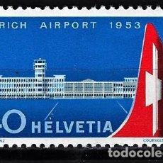 Sellos: 1953 SUIZA MICHEL MI 585 YVERT YT 536 MNH** NUEVO SIN CHARNELA - AEROPUERTO DE ZURICH. Lote 165633130