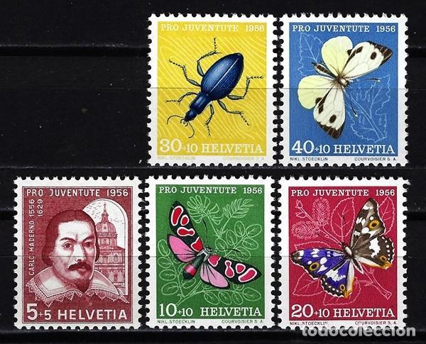 1956 SUIZA MICHEL MI 632/636 YVERT YT 581/585 MNH** NUEVOS SIN CHARNELA - PRO JUVENTUD MARIPOSAS (Sellos - Extranjero - Europa - Suiza)