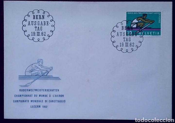 SOBRE DE PRIMER DÍA DE SUIZA 1962, CAMPEONATO MUNDIAL DE REMO, LUCERNA Y OTRO SOBRE CON 2 SELLOS (Sellos - Extranjero - Europa - Suiza)