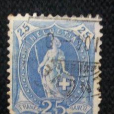 Sellos: SUIZA, HELVETIA, 25 FRANCOS, AÑO 1882,.. Lote 168742280