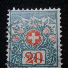 Sellos: SUIZA, HELVETIA, 20, MONTAIN, AÑO 1924,.. Lote 168743336