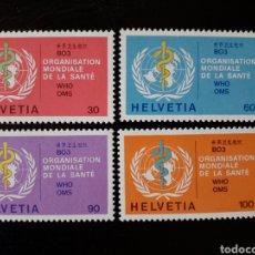 Sellos: SUIZA. YVERT SERVICIO 446/9 SERIE COMPLETA NUEVA SIN CHARNELA. ORGANIZACIÓN MUNDIAL DE LA SALUD. Lote 168959517
