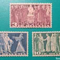 Sellos: SUIZA 1938. HISTORIA. YVERT 313/315**.. Lote 170223237