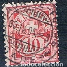 Sellos: SUIZA 1882 A 1906 ARMARIOS USADO MICHEL 47 SIN FILAMENTOS PAPEL BLANCO. Lote 174194964