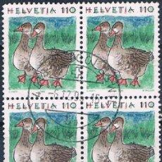 Sellos: SUIZA 1995 YVES 1491 USADO BONITO BLOQUE DE 4. Lote 177959067