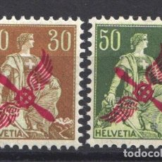 Sellos: SUIZA, AÉREO, 1919-20 YVERT Nº 1 / 2 /*/ MARQUILLADOS. . Lote 179022710