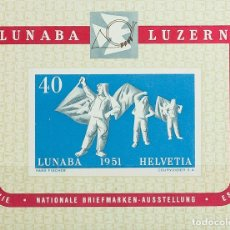 Sellos: SUIZA, HOJA BLOQUE. MNH **YV 14. 1951. HOJA BLOQUE. MAGNIFICA. YVERT 2013: 275 EUROS. REF: 42541. Lote 183123437