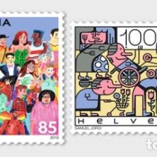 Sellos: SWITZERLAND 2019 - JOINT ISSUE SWITZERLAND-LIECTENSTEIN, SOCIAL DIVERSITY STAMP SET MNH. Lote 183964820