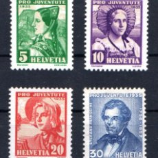 Sellos: SUIZA 282/85 * PRO JUVENTUD 1943 COMPLETA CON CHARNELA. Lote 184516677