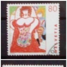 Timbres: SUIZA ARTE CONTEMPORÁNEO SERIE DE SELLOS USADOS. Lote 193574312