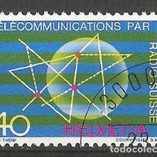 Sellos: SUIZA - 40 RAPPEN - SELLO - 50 AÑOS DE TELECOMUNICACIÓN POR RADIO SUIZA - CON ADHESIVO Y MATASELLOS. Lote 194319858