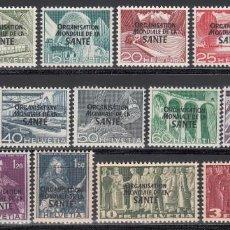 Sellos: SUIZA, SERVICIO 1950 YVERT Nº 338 / 353 /*/, ORGANIZACIÓN MUNDIAL DE LA SANIDAD. Lote 194727846