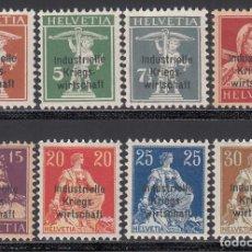 Sellos: SUIZA, SERVICIO 1918 YVERT Nº 9 / 16 /*/,. Lote 194729192
