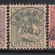 Sellos: SUIZA, 1917 YVERT Nº 154 / 156, PRO- JUVENTUD. MARQUILLA WERNER LINIER. Lote 196120798