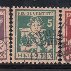 Sellos: SUIZA, 1916 YVERT Nº 151 / 153, PRO- JUVENTUD. MARQUILLA WERNER LINIER. Lote 196121000