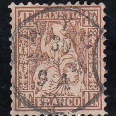 Sellos: SUIZA, 1862 YVERT Nº 41A. Lote 196129711