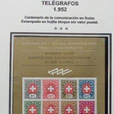 Sellos: SUIZA - CENTENARIO TELEGRAFOS AÑO 1952 - HOJA BLOQUE SIN VALOR POSTAL - 2 FOTOS . Lote 198426102