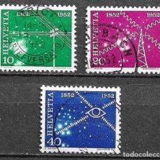 Sellos: SUIZA, 1952,CENTENARIO DEL SERVICIO DE TELECOMUNICACIONES,YVERT 517-518 Y 520,USADOS. Lote 198468940