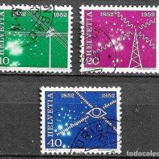 Sellos: SUIZA, 1952,CENTENARIO DEL SERVICIO DE TELECOMUNICACIONES,YVERT 517-518 Y 520,USADOS. Lote 198469655
