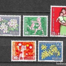 Sellos: SUIZA,1962,PRO JUVENTUD,YVERT 700-704,NUEVOS,MNH**. Lote 198470677