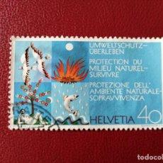 Sellos: SUIZA - VALOR FACIAL 40 - AÑO 1972 - PROTECCIÓN DE LA NAURALEZA - YV 908. Lote 198764160