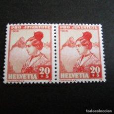Sellos: SUIZA 1938, ZUMSTEIN Nº 87**, URANAISE.PRO JUVENTUD, PAREJA. Lote 202708172
