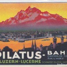 Sellos: LUZERN (SUIZA) - PILATUS -BAHN CHEMIN DE FER RAILWAY. Lote 203011917