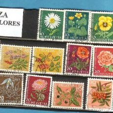 Sellos: LODE SELLOS SUIZA. SERIE FLORES. Lote 203226426