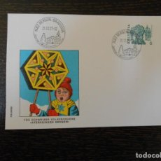 Sellos: SUIZA-SOBRE CONMEMORATIVO CON SELLO Y MATASELLOS-1977. Lote 203285043