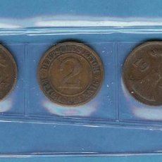 Sellos: ALEMANIA. REPÚBLICA DE WEIMAR. 3 MONEDAS DE 2 PFENNIG 1924-A,G,J. BRONCE. Lote 203311593