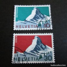 Sellos: SUIZA 1965, ZUMSTEIN Nº 433/434, CERVIN, USADO. Lote 204711707