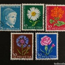 Sellos: SUIZA, N°721/25 USADOS,FLORES AÑO 1963 (FOTOGRAFÍA REAL). Lote 206324067