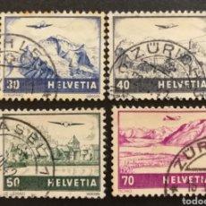 Sellos: SUIZA, LOTE DE 4 SELLOS AEREOS USADOS DE LA SERIE DE 1941(FOTOGRAFÍA REAL). Lote 206328748