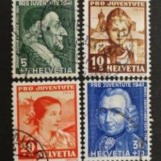 Sellos: SUIZA, N°371/74 USADA, PRO-JUVENTUD 1941 (FOTOGRAFÍA REAL). Lote 206339536