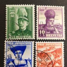 Sellos: SUIZA, N°89/92 USADA, PRO-JUVENTUD 1939 (FOTOGRAFÍA REAL). Lote 206339832