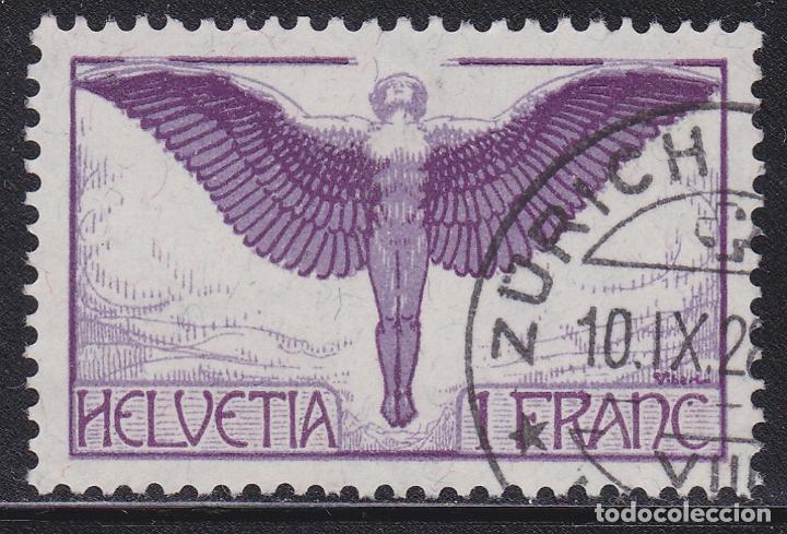 SUIZA 1924 SELLO USADO CON PAPEL CON FRAGMENTOS DE HILOS DE SEDA YVERT Nº A12A AÉREO (Sellos - Extranjero - Europa - Suiza)
