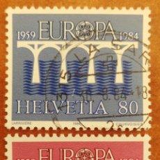 Sellos: SUIZA, EUROPA CEPT 1984 USADA (FOTOGRAFÍA REAL). Lote 213698246