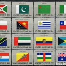 Sellos: NACIONES UNIDAS NEW YORK 1984 IVERT 416/33 *** BANDERAS DE ESTADOS MIEMBROS DE LA O.N.U. (V). Lote 216967806