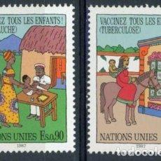 Sellos: NACIONES UNIDAS GINEBRA 1987 IVERT 160/1 *** VACUNACIÓN PARA TODOS LOS NIÑOS - DIBUJOS. Lote 219302610