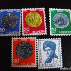 Sellos: SUIZA. PRO JUVENTUD. MONEDAS. 1962. NUEVA. 693/697 YVERT.. Lote 219845156
