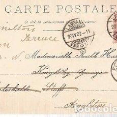 Sellos: SUIZA & CIRCULADO, BARCO DEL LAGO LEMAN, LAUSANNE A ECCLESHALL INGLATERRA 1902 (1207). Lote 221444396