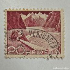Sellos: HELVETIA. SELLO USADO DE 20CT, DE 1949. INGENIERÍA, PRESA. ENVÍO GRATIS POR PEDIDOS DE 3€ O MÁS.. Lote 231732165