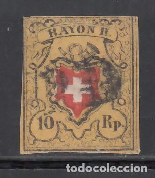 SUIZA, 1850 YVERT Nº 15, 10 R. AMARILLO, NEGRO Y ROJO, RAYON II (Sellos - Extranjero - Europa - Suiza)