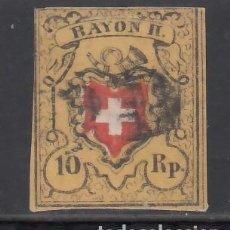 Sellos: SUIZA, 1850 YVERT Nº 15, 10 R. AMARILLO, NEGRO Y ROJO, RAYON II. Lote 231811435