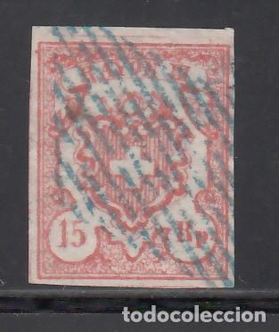 SUIZA, 1852 YVERT Nº 22, 15 RR. ROJO, RAYON III. TIPO I (Sellos - Extranjero - Europa - Suiza)
