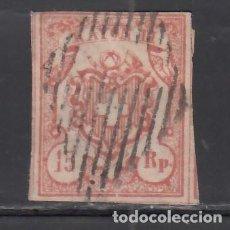 Sellos: SUIZA, 1852 YVERT Nº 23, 15 RR. ROJO, RAYON III. TIPO II. Lote 231812650